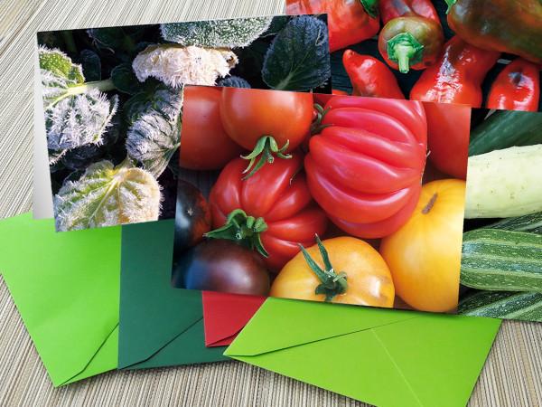Grußkarten mit Gemüsemotiven